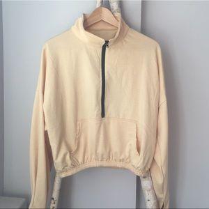 Tops - Cream half zip pullover